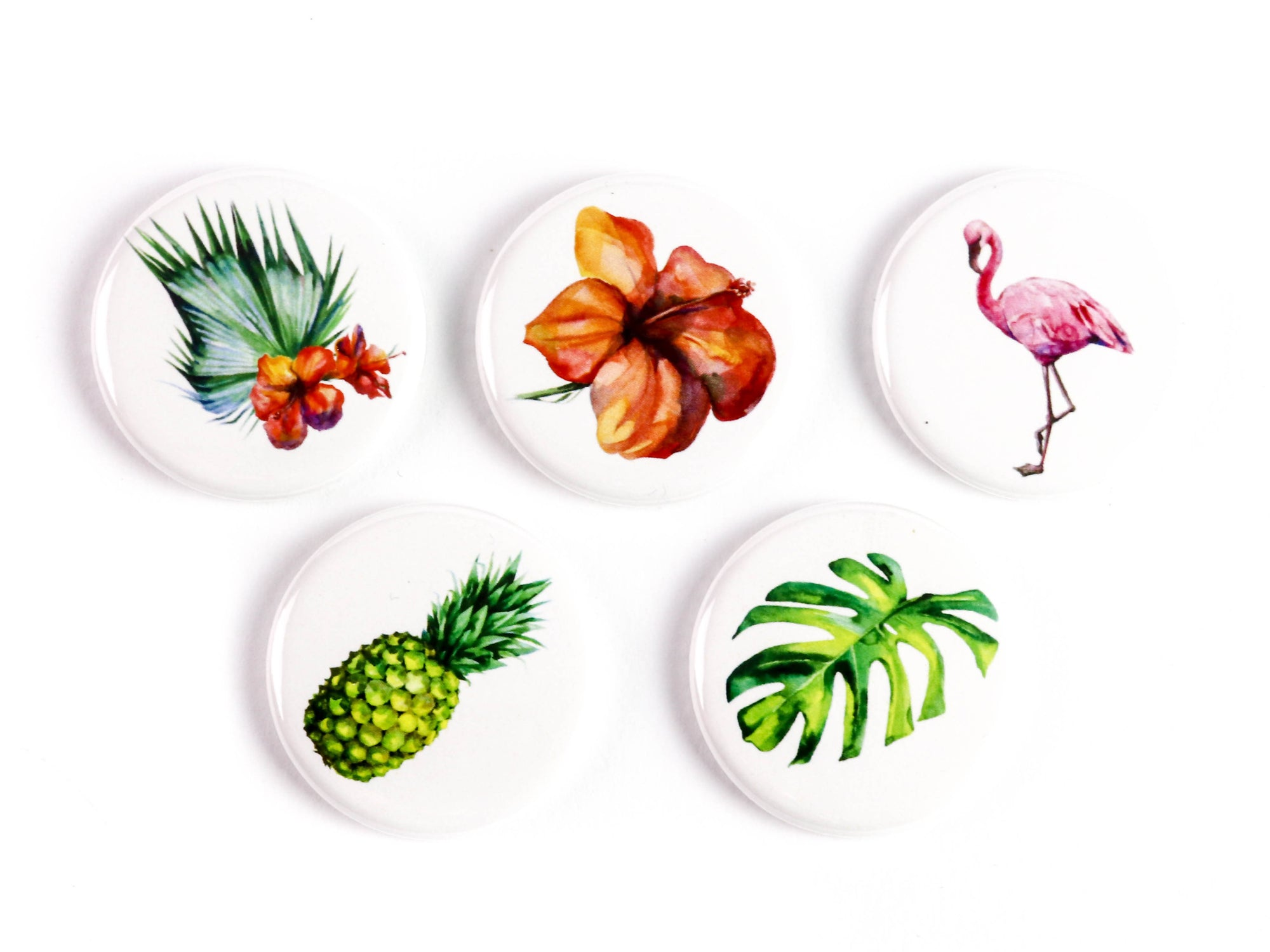 Watercolor Tropical Flowers - Flora of Paradise Ceramic Magnets or Pinback Buttons: Supports The Ottawa Food Bank's Community Harvest