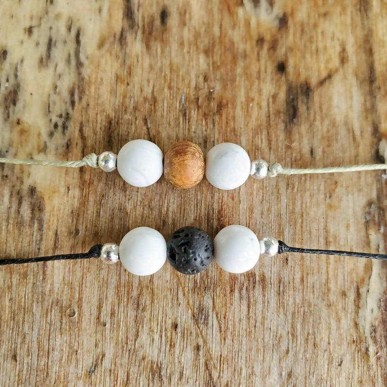 White Howlite String Bracelet - Wood or Lava bead accent!