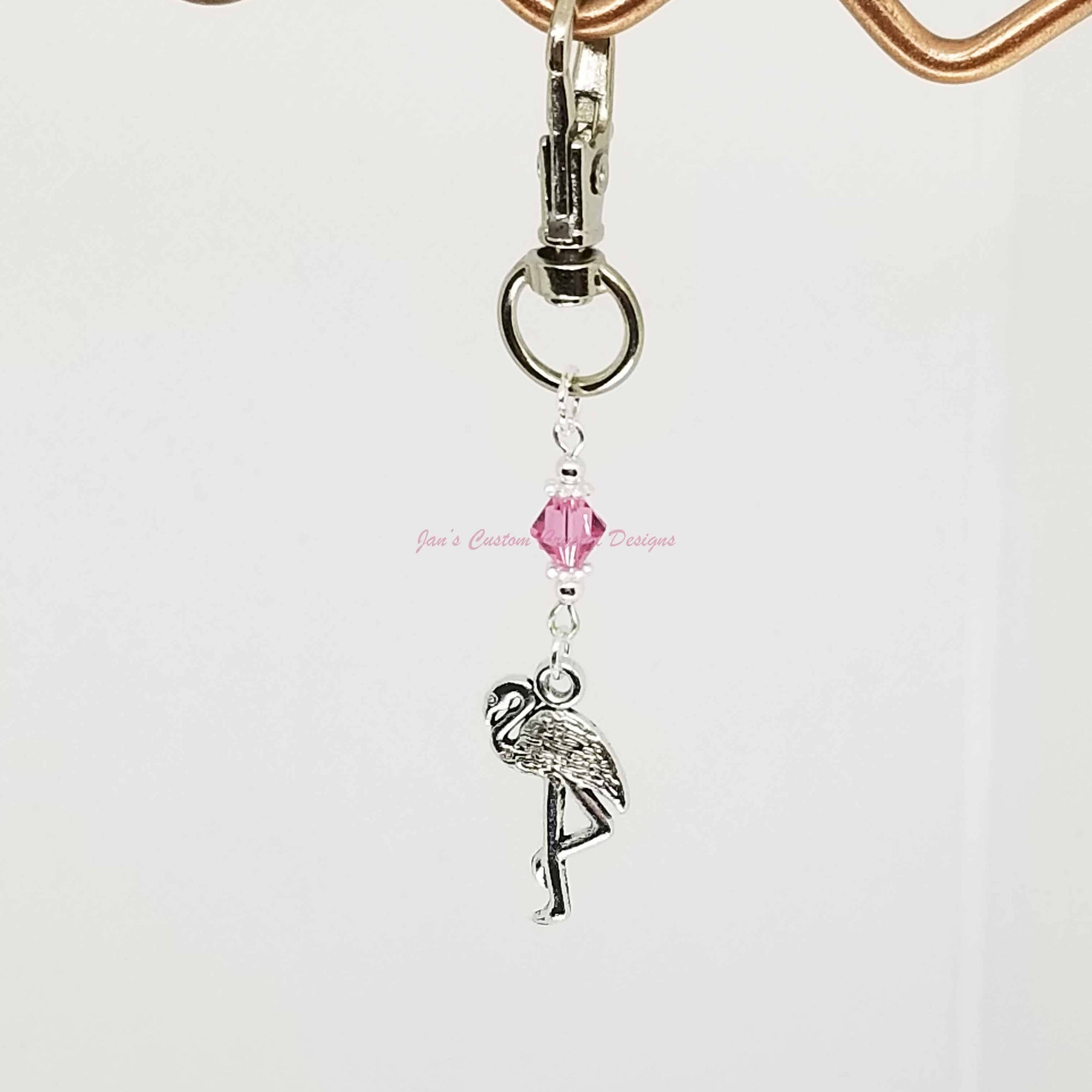 Swarovski® Crystal - Pink - Flamingo- zipper/bag clip
