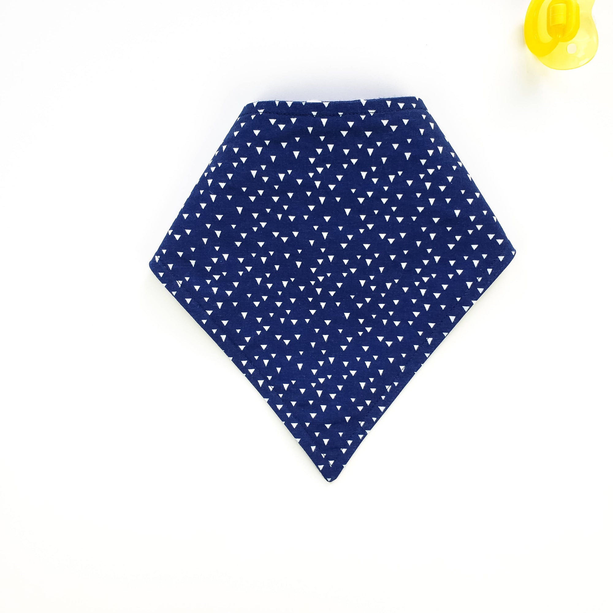 Bandana Bib - White Triangles on Navy