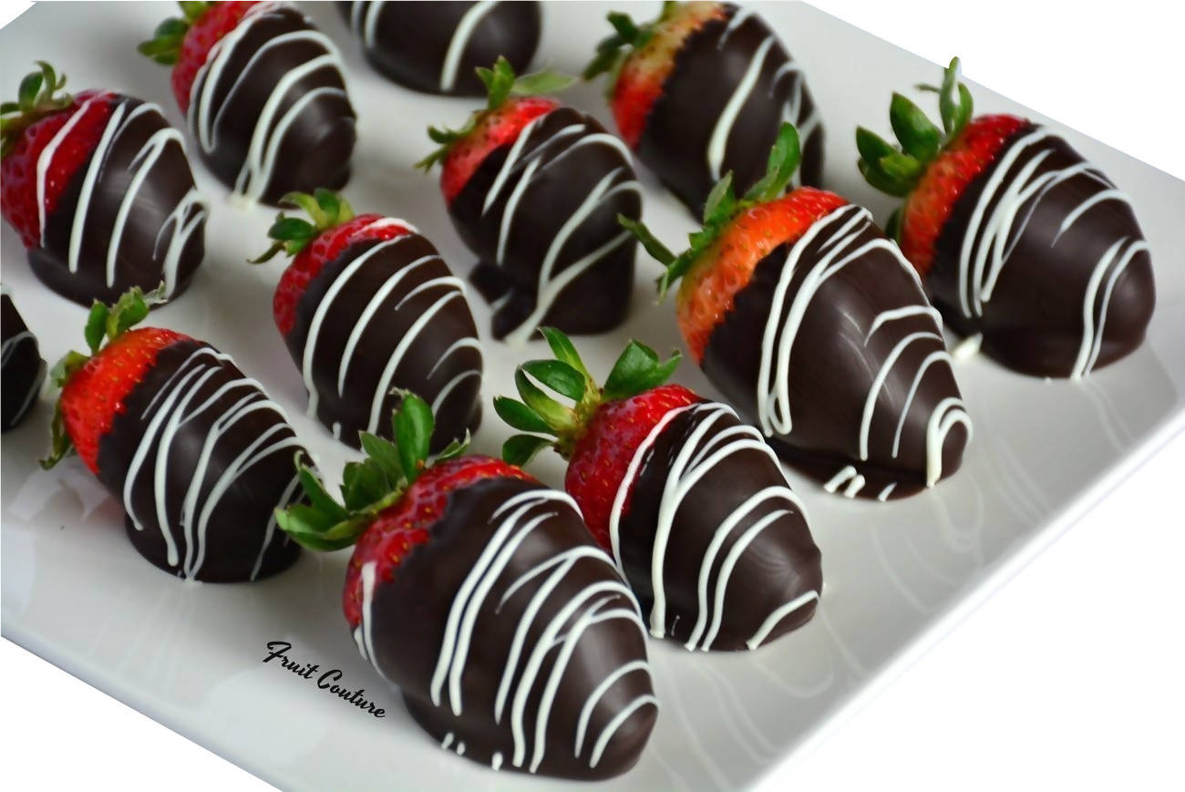 Swizzled Chocolate Covered Strawberries
