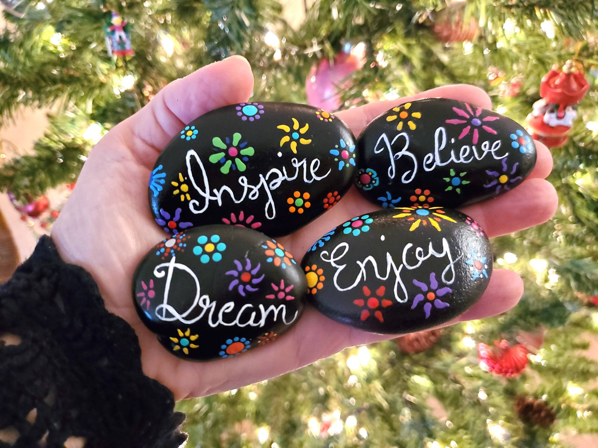 Hand Painted Rock Set, Inspirational Words, Flowers, Natural Stone