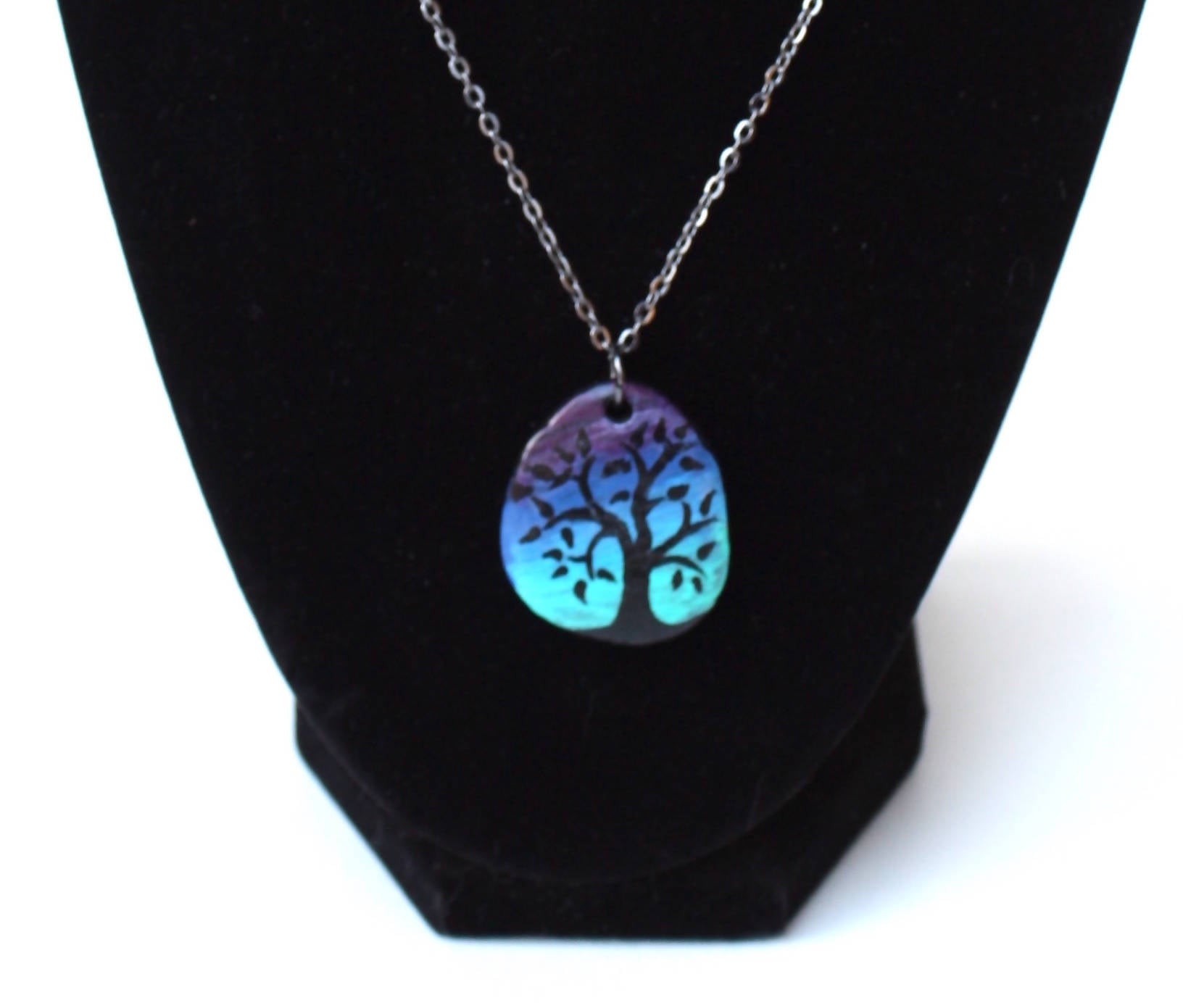 Hand painted stone pendant necklace, flat river stone from Turkey, dot art, tree of life