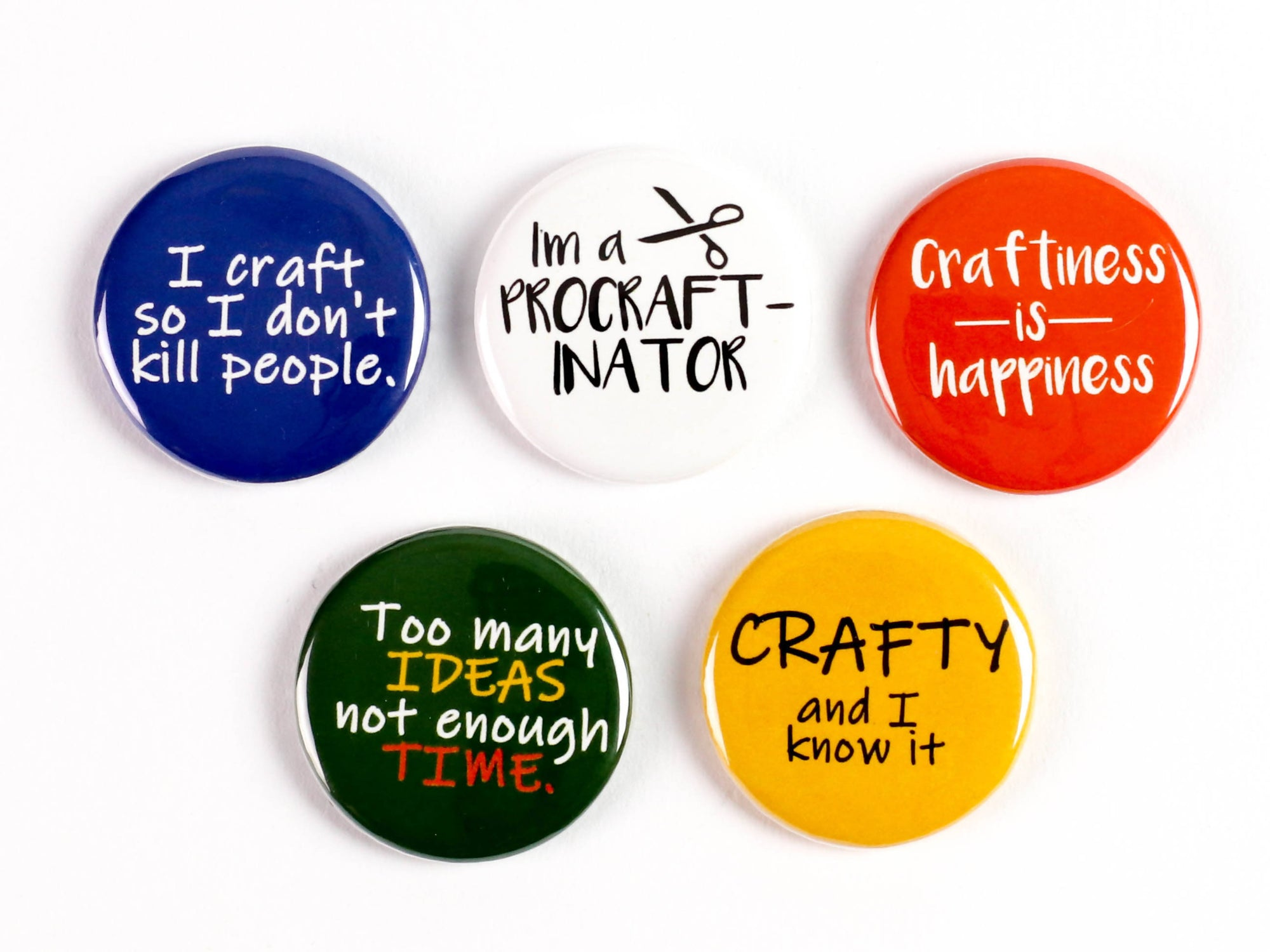 Crafty and I know it! - Strong Ceramic Magnets Or Pinback Buttons for Craft lovers! I'm a procraftinator!