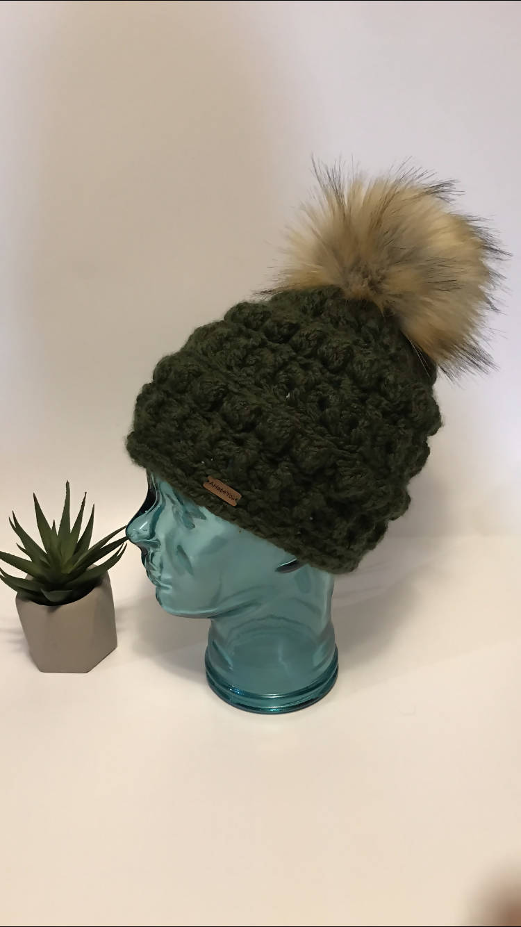 Crochet Amara Hat with Faux Fur Pompom