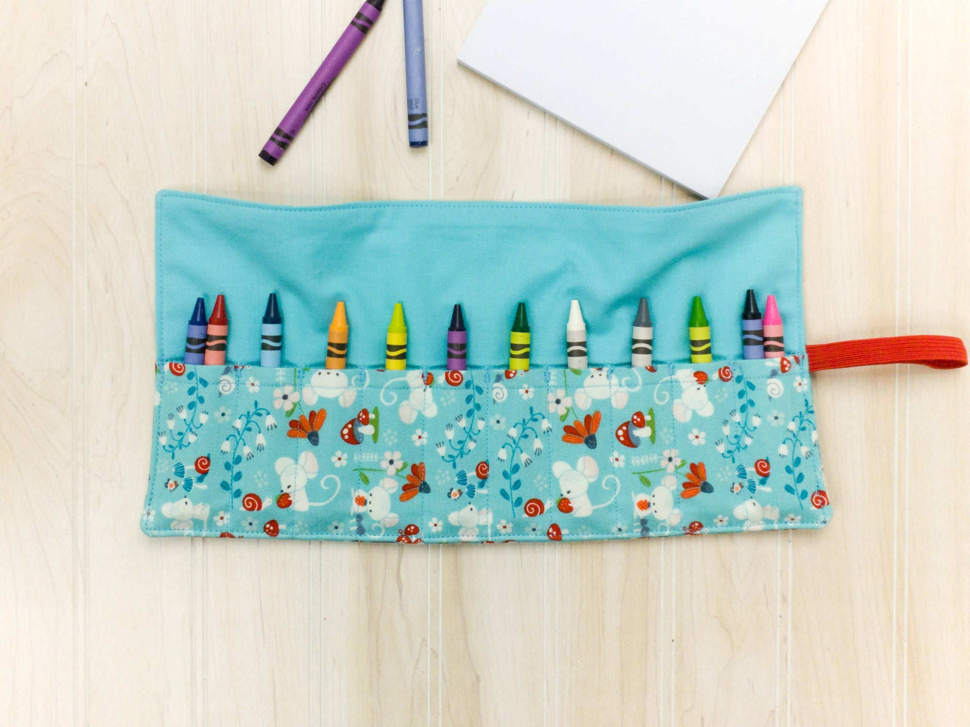 Crayon & Marker Roll Up - Turquoise Mice and Flowers