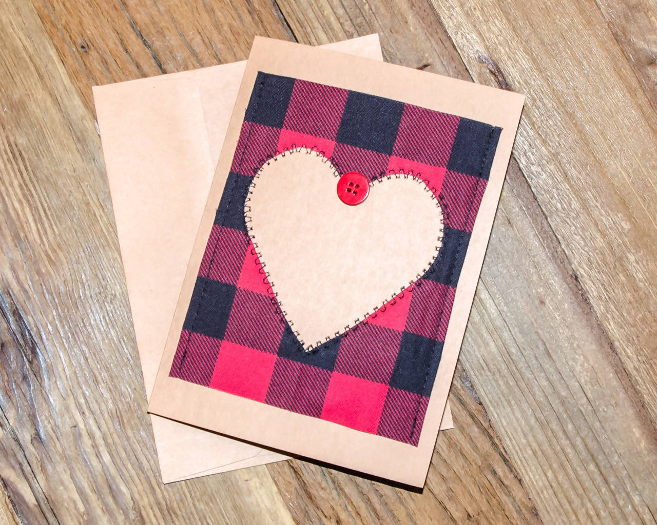 Handmade - Fabric on Paper Greeting Card, Heart Buffalo Plaid - Blank Inside for any occasion/Valentines