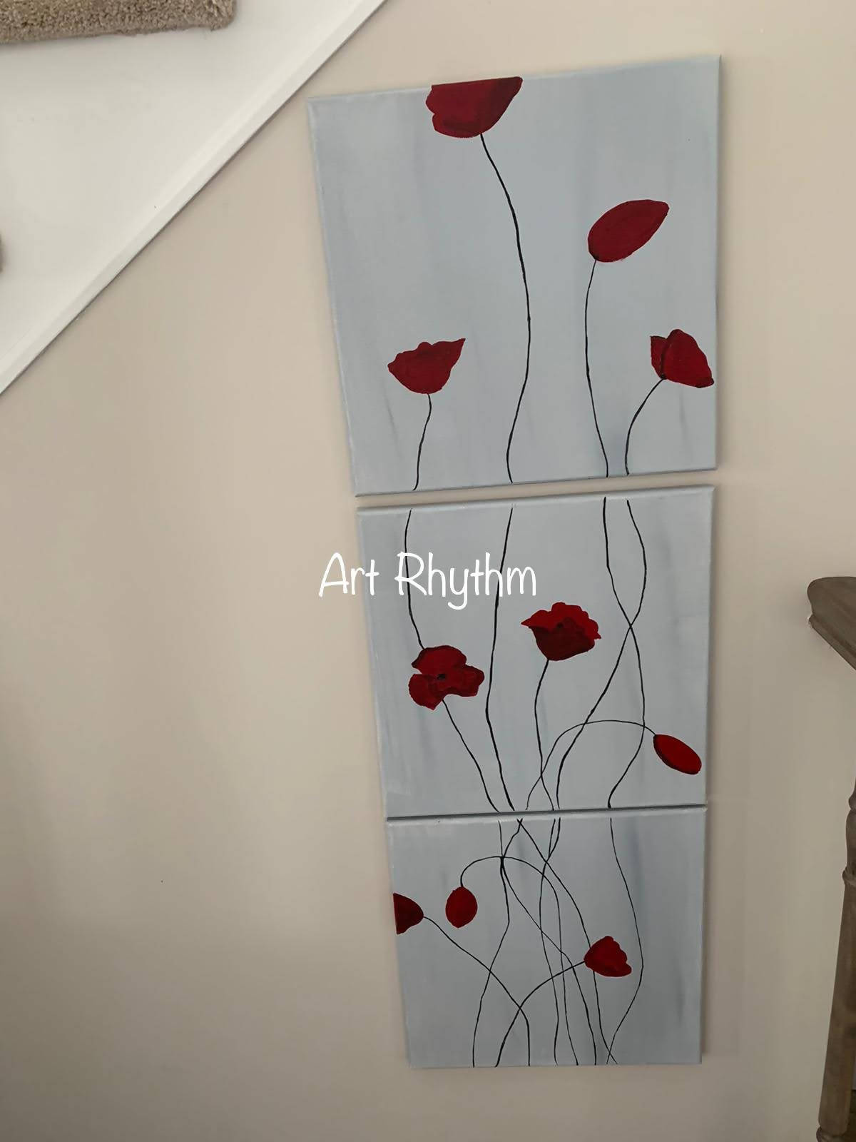 Three piece red poppy Canvas painting.