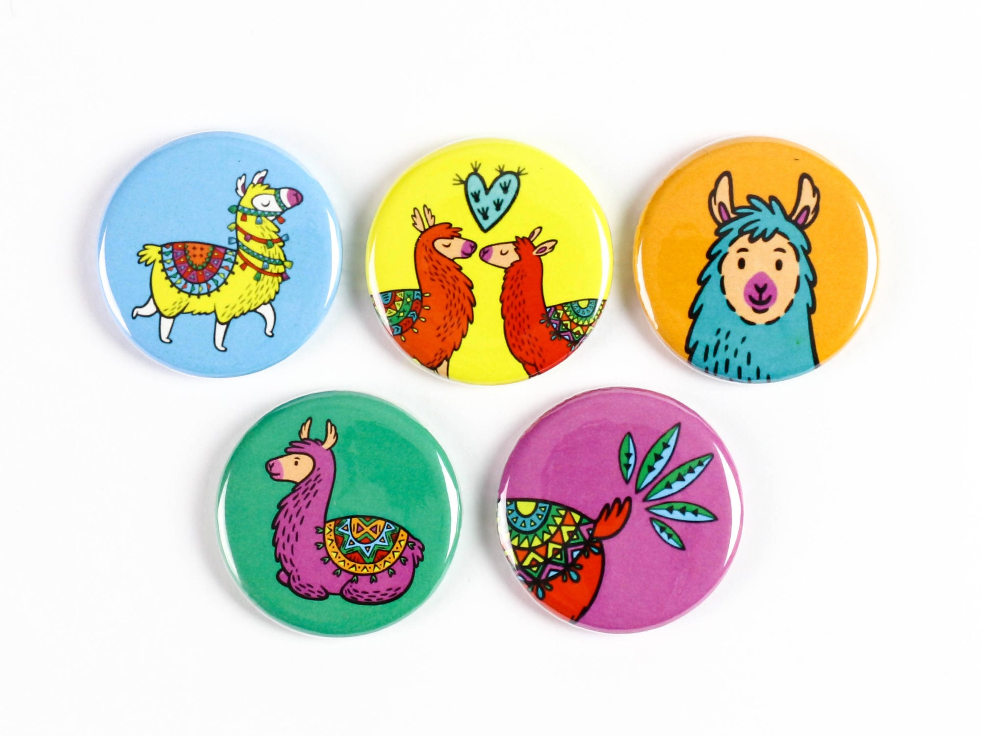 Llama have a fiesta! Brightly Coloured Llama Strong Ceramic Magnets or Pinback Buttons - Cute Llamas!