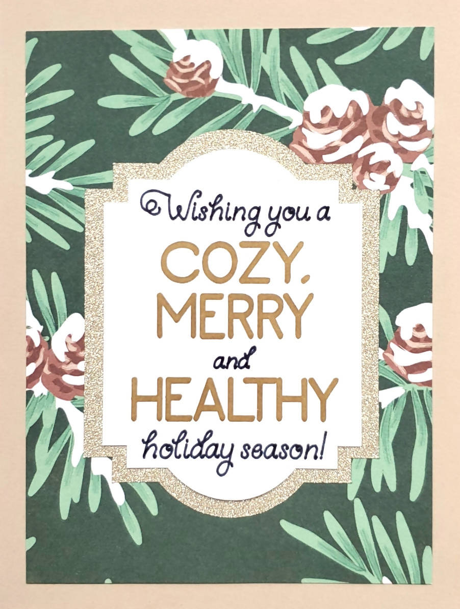 Merry and Healthy Card (Green and Gold)
