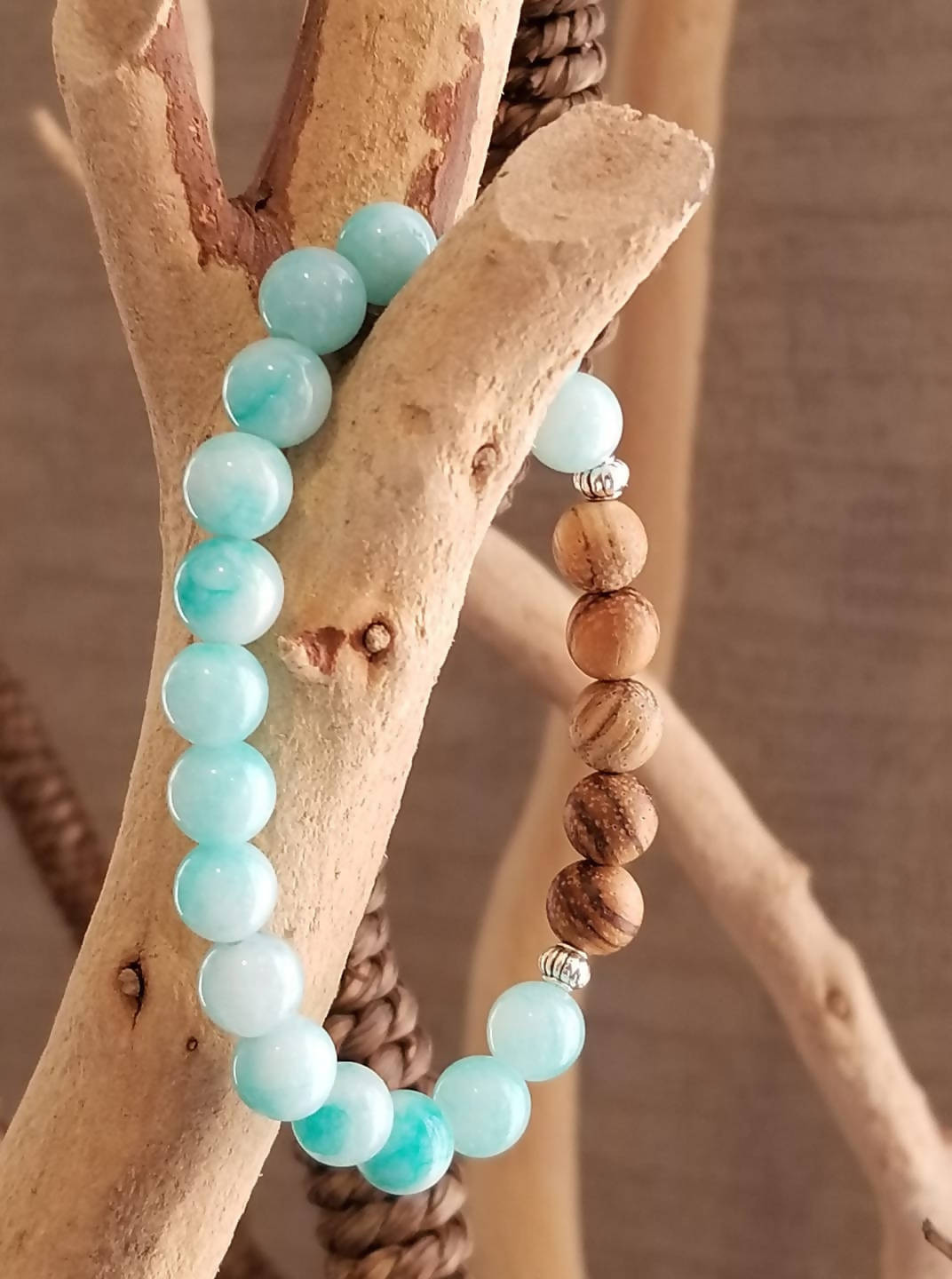 """Joy"" Bracelet with Malaysian Jade and Wood Tree Aloe Beads"
