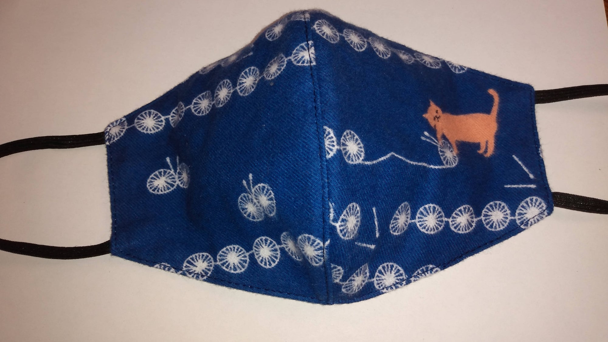 Blue Cotton Mask with Cat