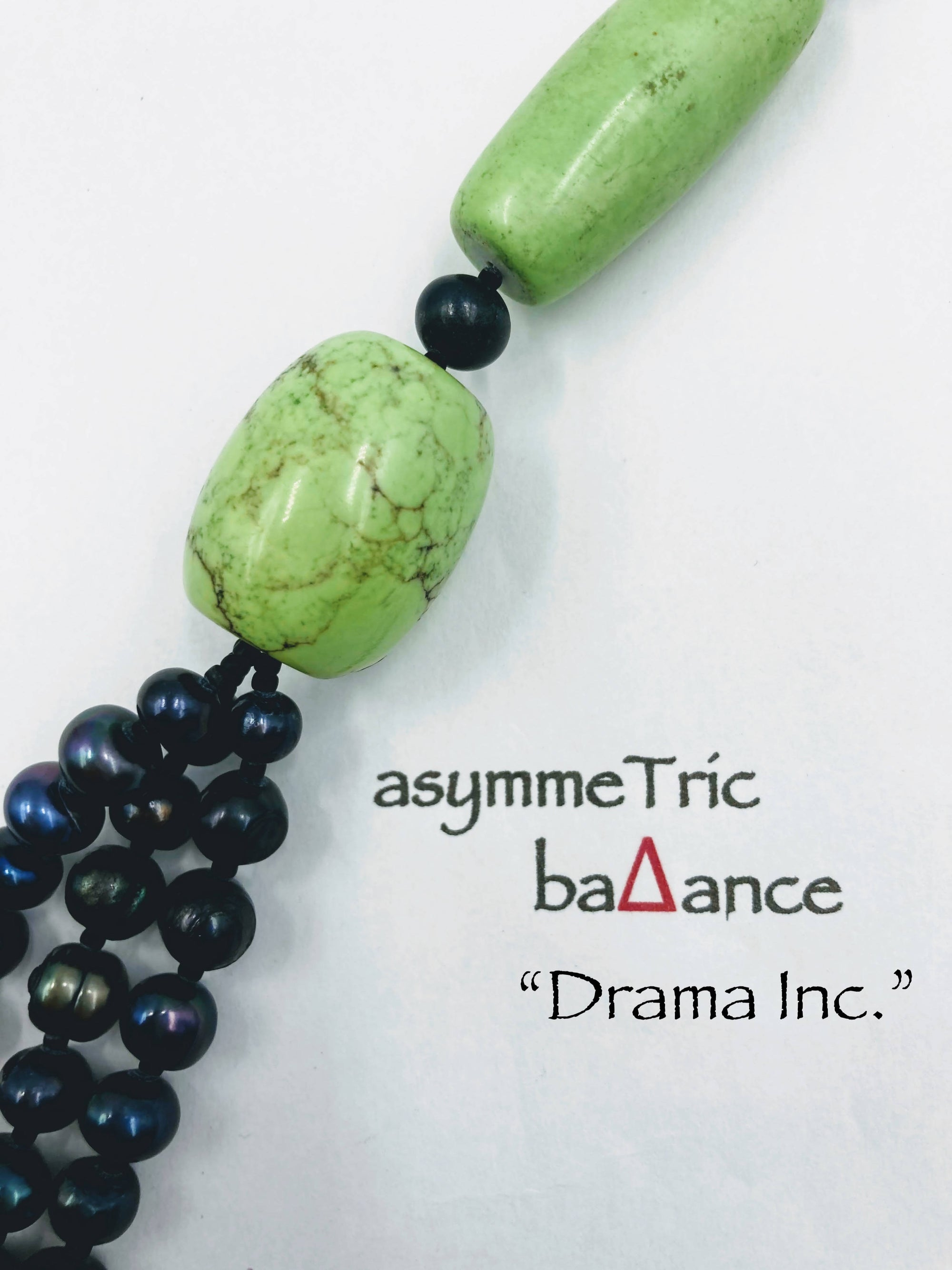 Drama Inc. - pistachio and black designer asymmetric statement necklace
