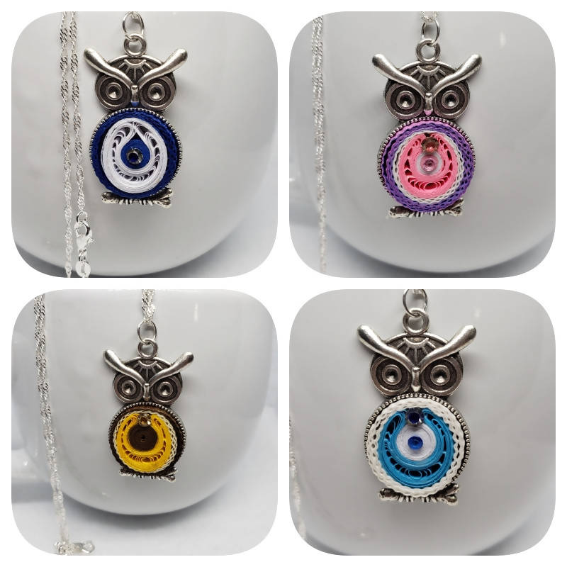 """FREE SHIPPING"" Quilled Small Owl Necklace"