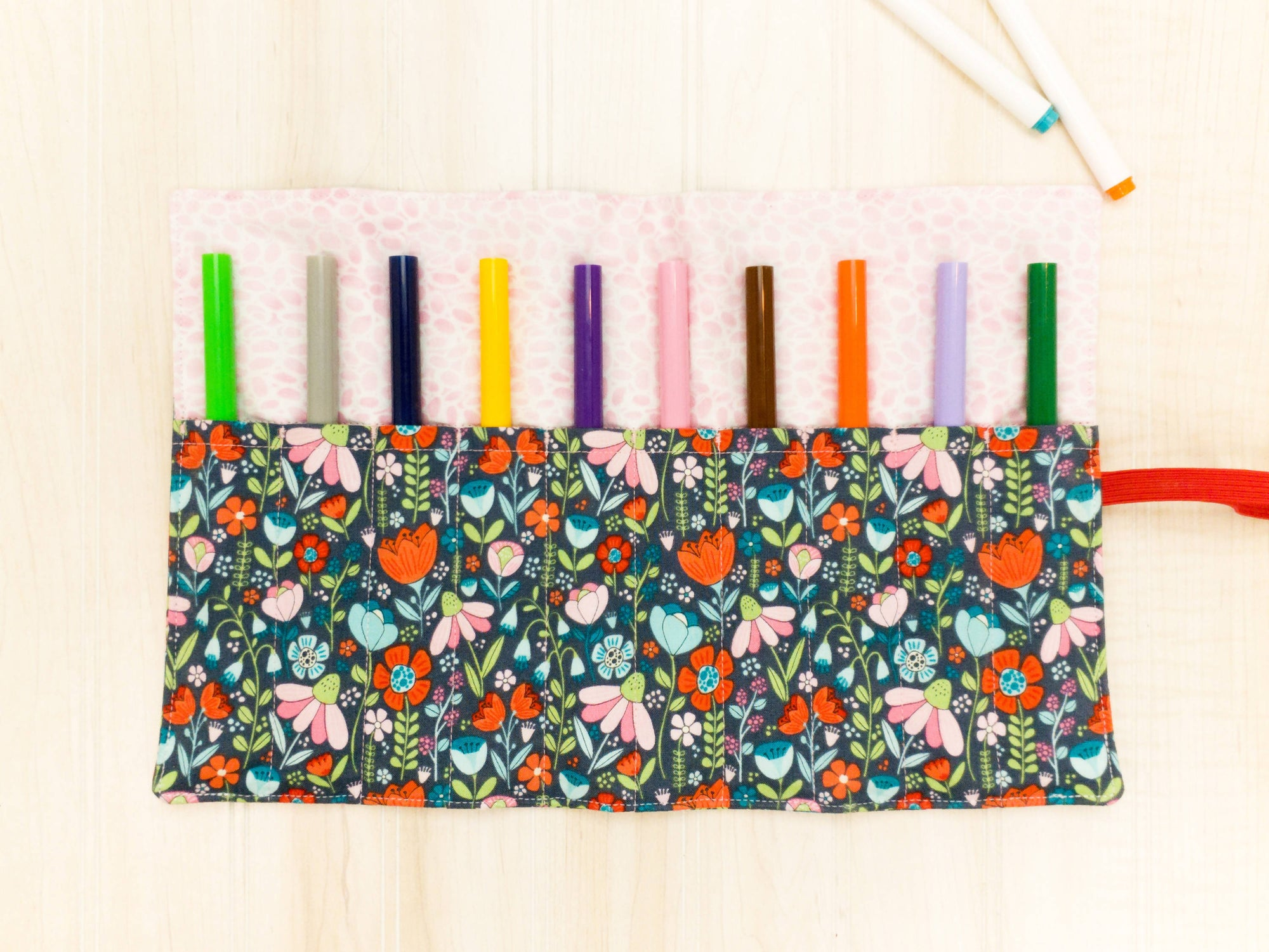 Marker Roll Up - Pencil Crayon Pouch - Grey Floral - Personalised