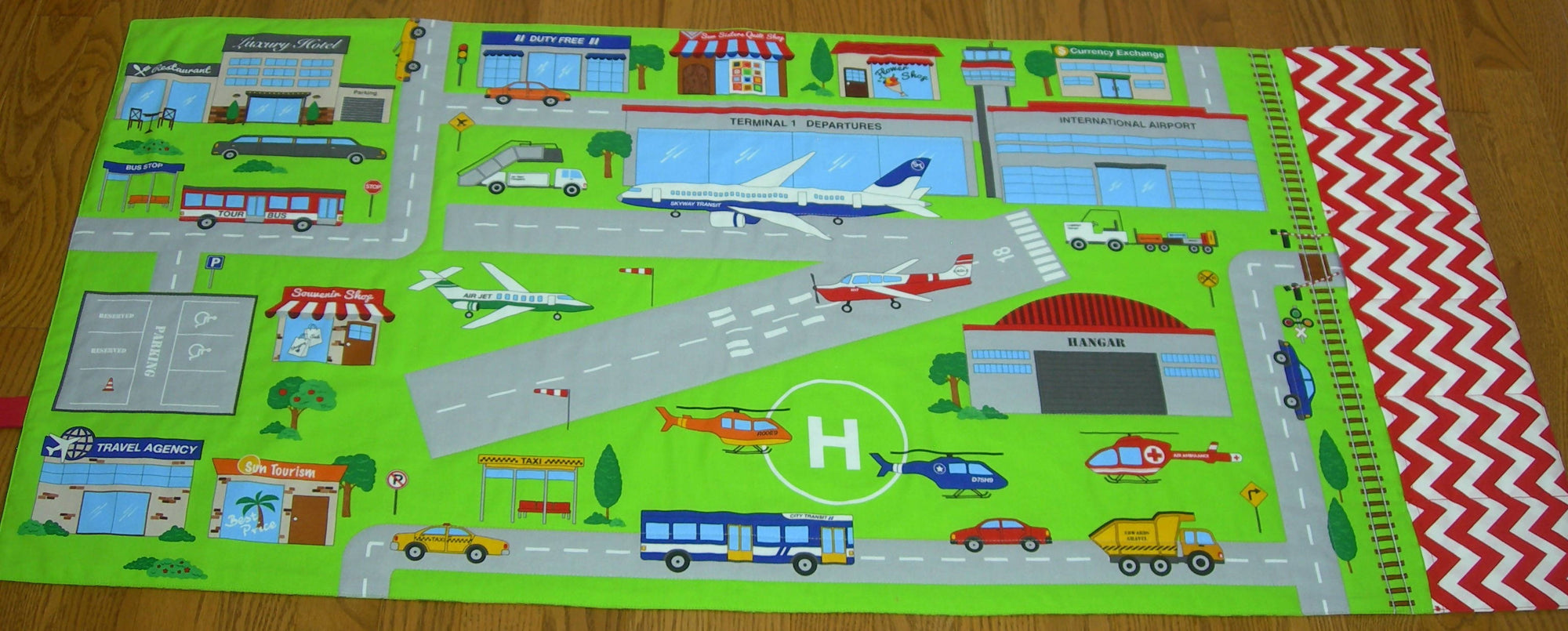 Made to Order Airport Play Mat-Connectable Fold Up Travel Train Quilt With Pockets for Toy Storage