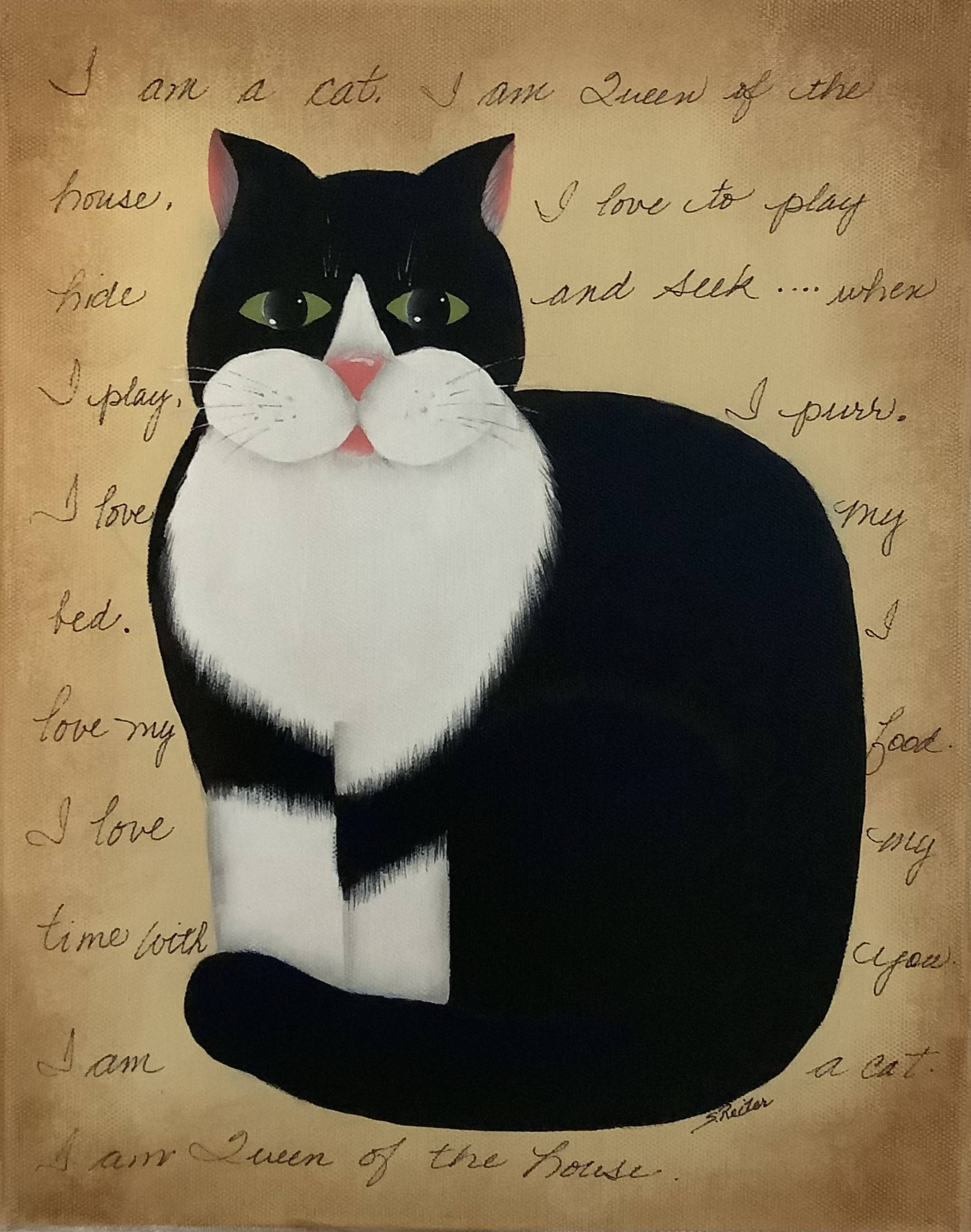 An Original Folk Art Painting of A Black and White Cat With a Written Story in the Back. - She is the Queen of the House