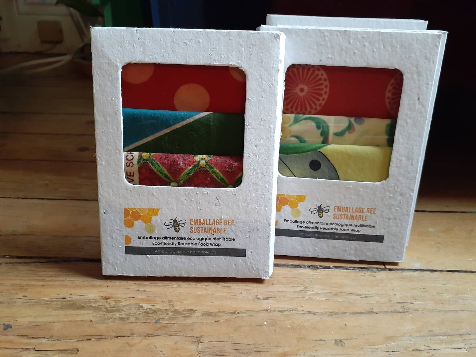 Beeswax food wrap in a plantable box