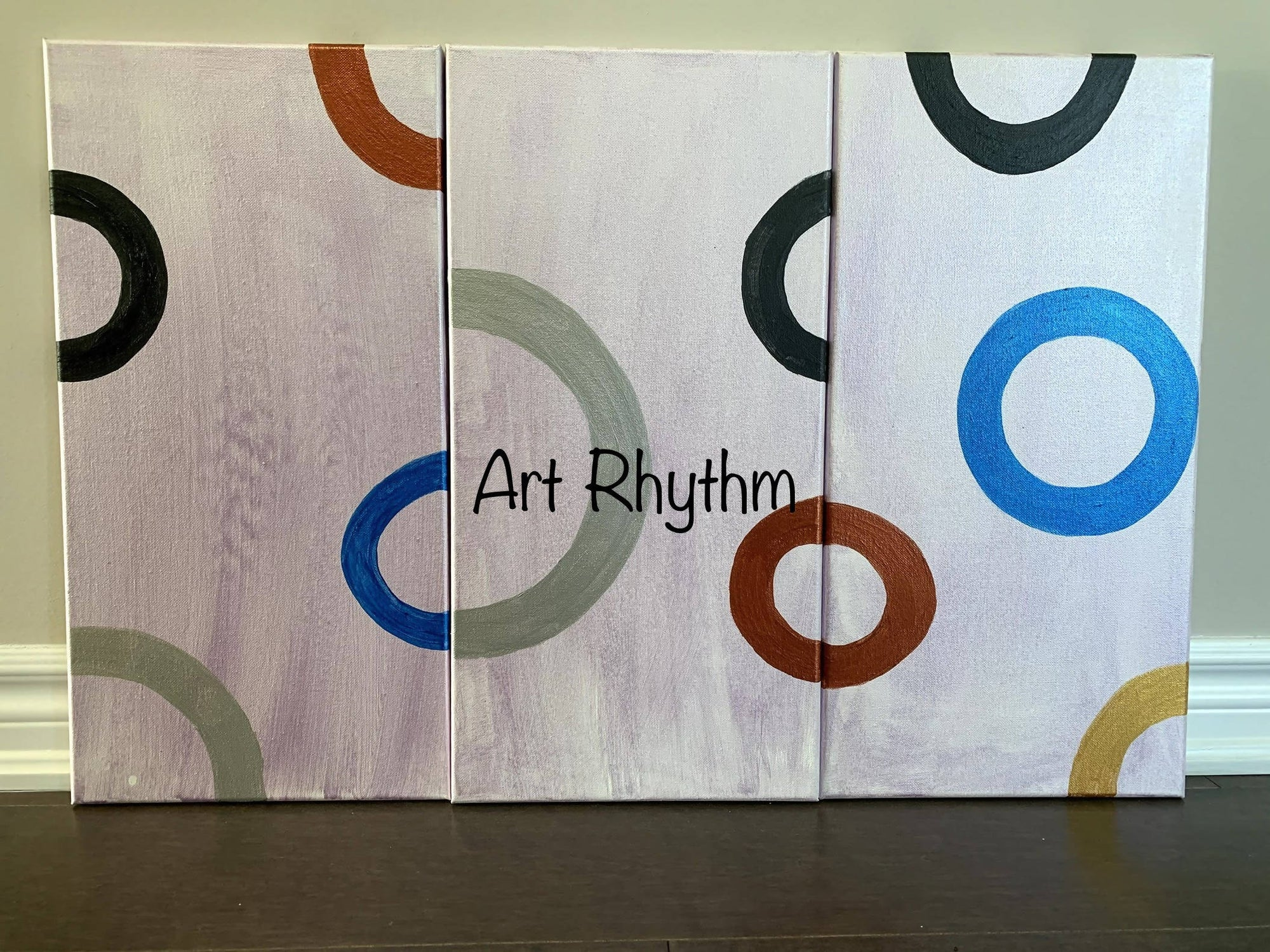 Three piece Abstract Shapes Canvas Painting