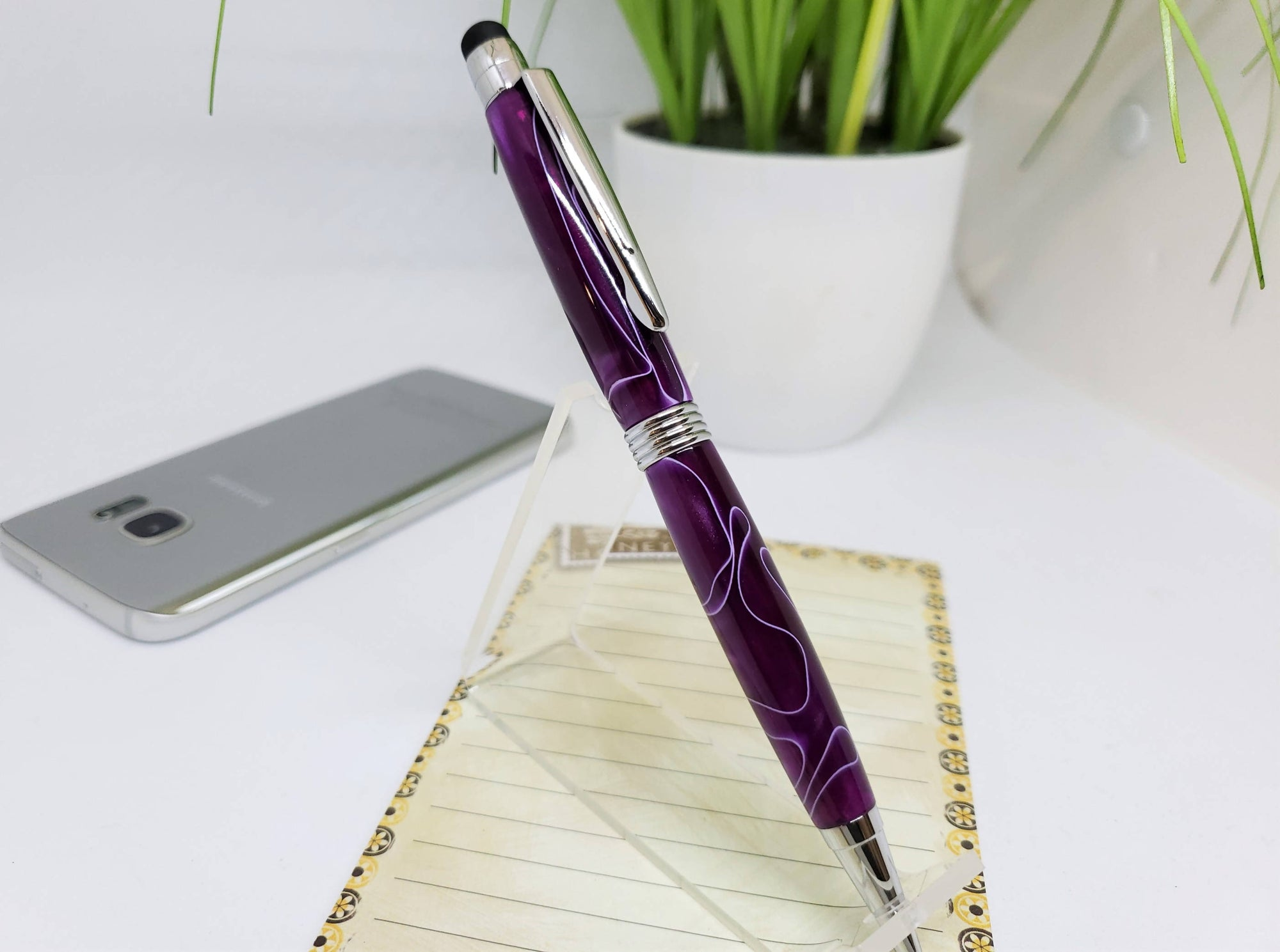"Stylus Pen, Hand Turned, ""Ultra Violet"" Acrylic Body, Chrome Trim, Extra Refill, Gift for Mom, Gift for Daughter, Mother"