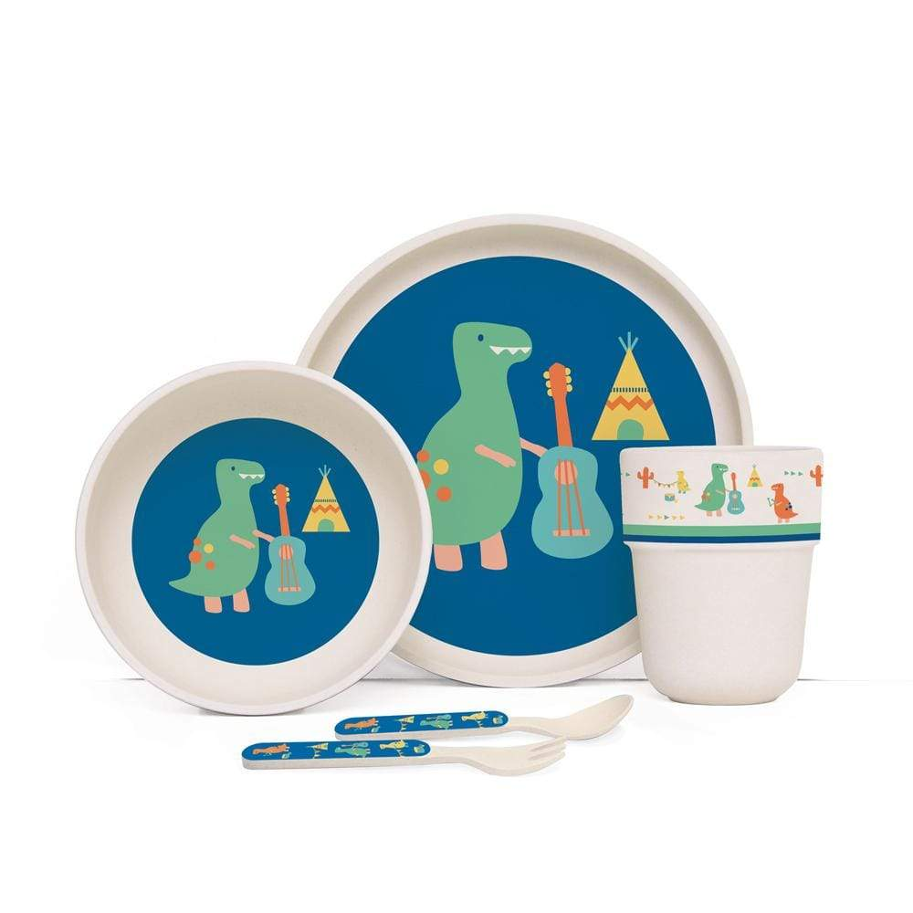 Raspberry Lane Boutique Bamboo Mealtime Set with Cutlery - Dino Rock