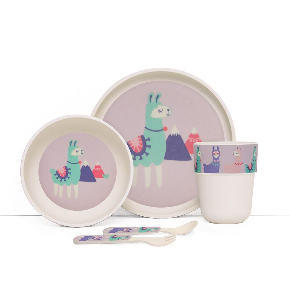 Raspberry Lane Boutique Bamboo Mealtime Set with Cutlery - Loopy Llama