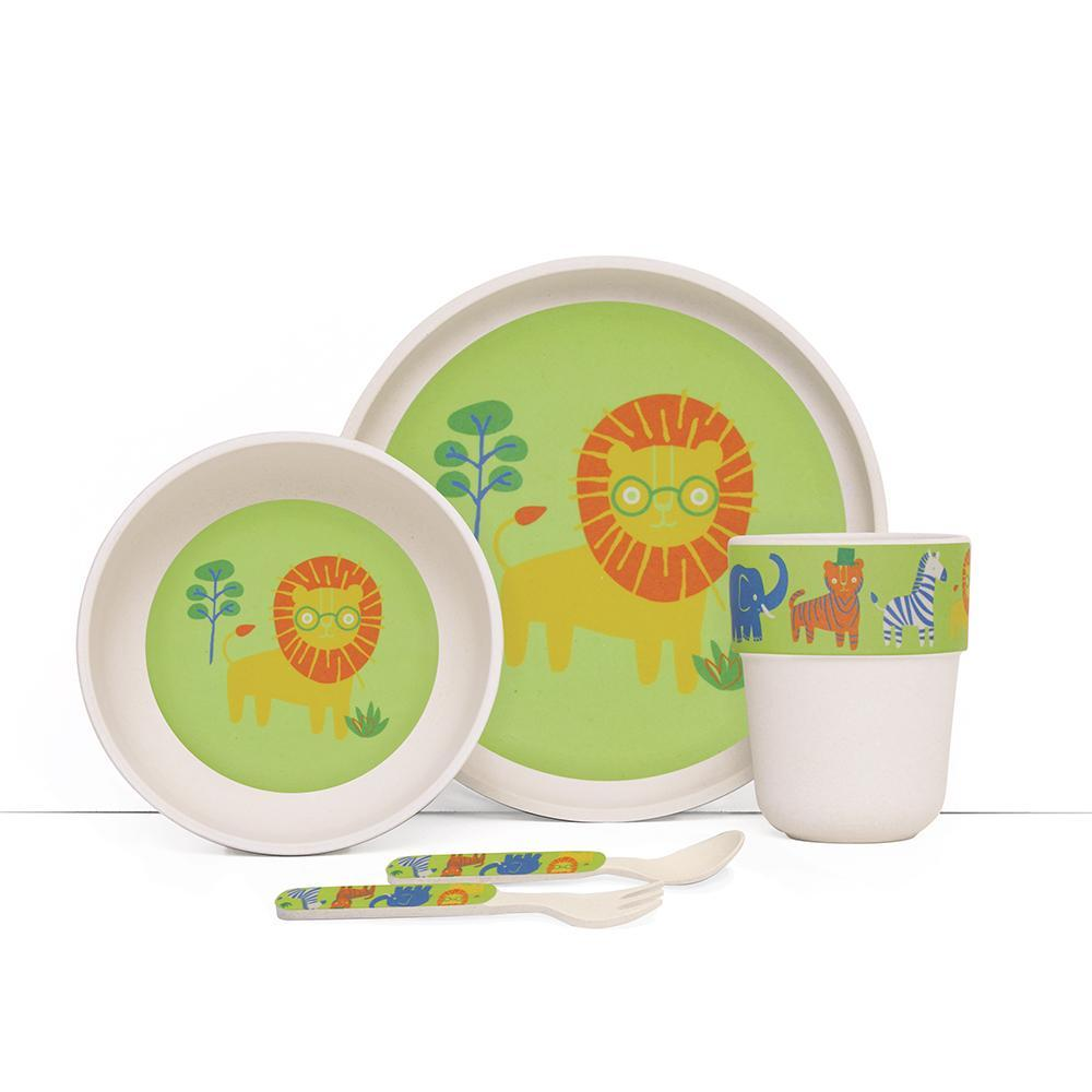 Raspberry Lane Boutique Bamboo Mealtime Set with Cutlery - Wild Thing