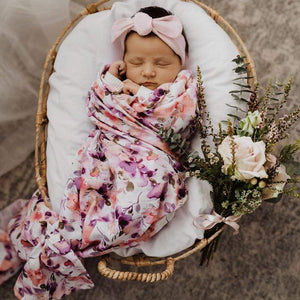 Raspberry Lane Boutique Blushing Beauty Organic Muslin Swaddle