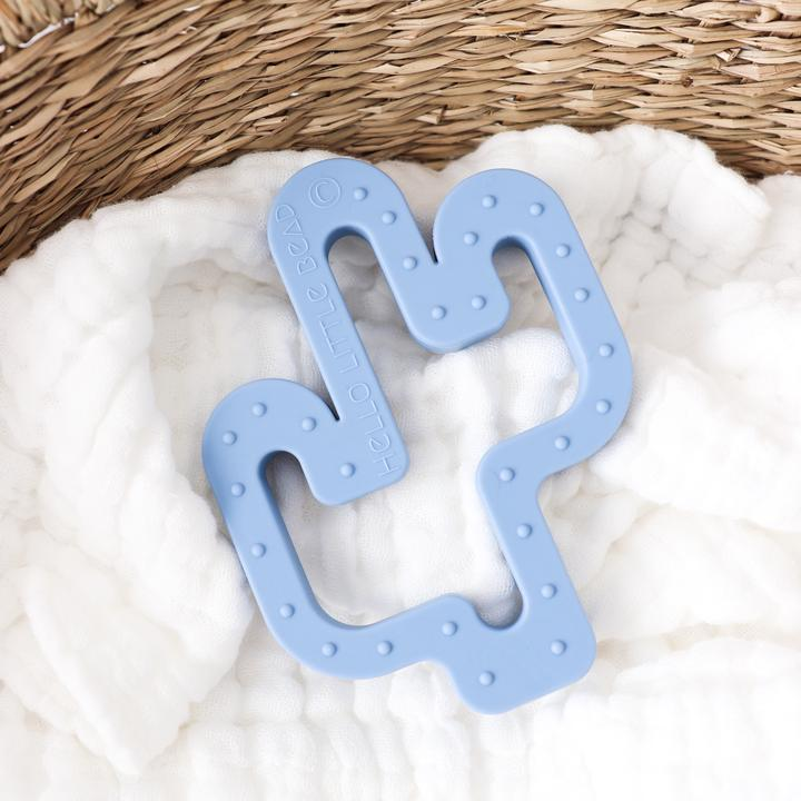 Raspberry Lane Boutique Cactus Silicone Teether - Powder Blue