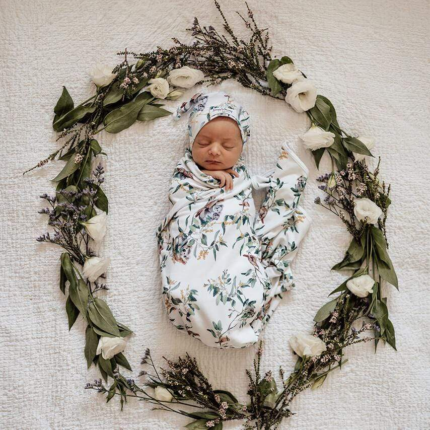 Raspberry Lane Boutique Eucalypt - Baby Jersey Wrap and Beanie Set