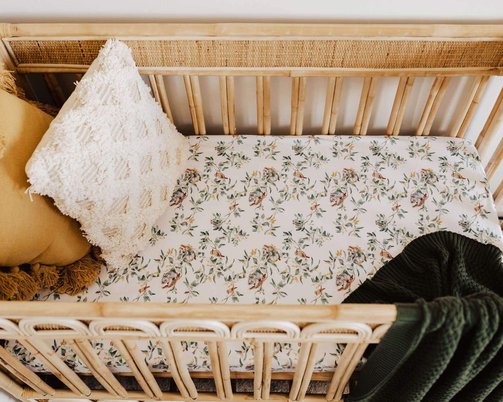 Raspberry Lane Boutique Eucalypt Fitted Cot Sheet