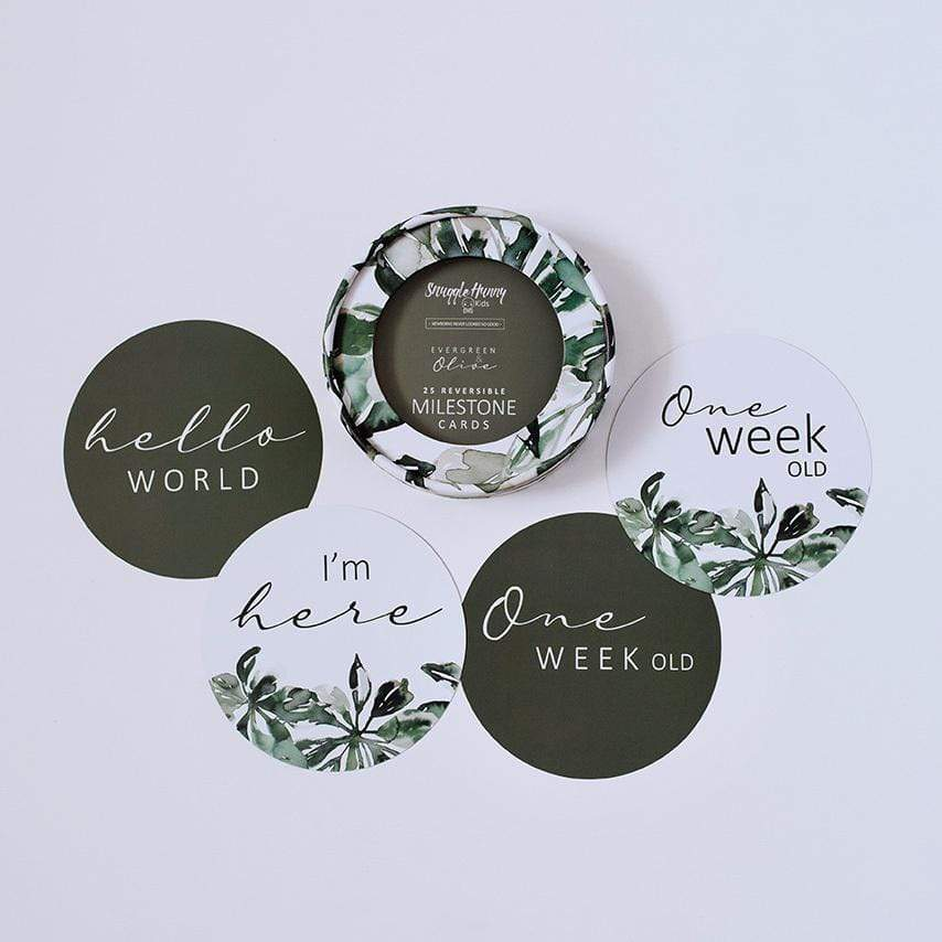 Raspberry Lane Boutique Evergreen and Olive Milestone Card Set