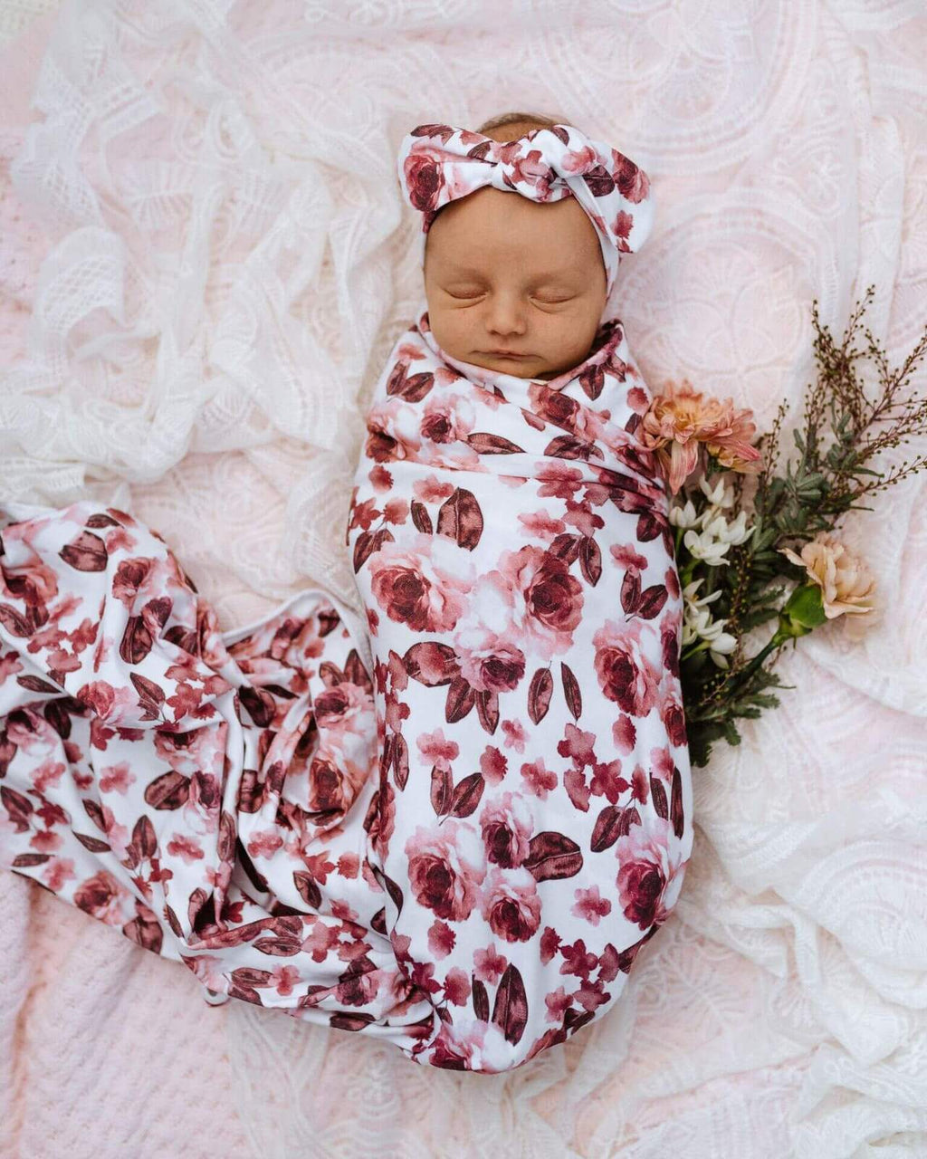 Raspberry Lane Boutique Fleur Baby Jersey Wrap and Top Knot Set