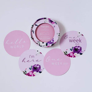 Raspberry Lane Boutique Floral Pink and Blossom Kiss Milestone Card Set