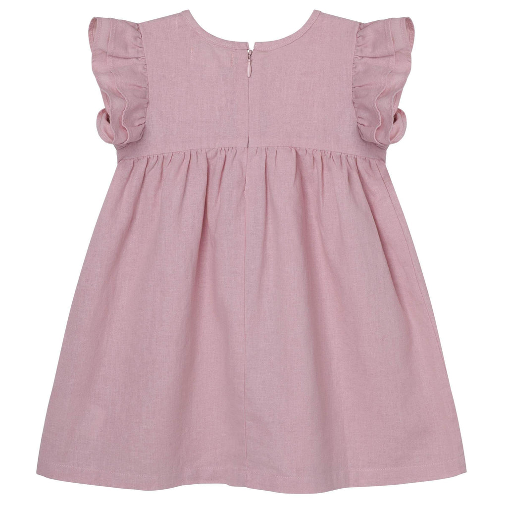 Raspberry Lane Boutique Frill Sleeve Dress - Dusty Pink