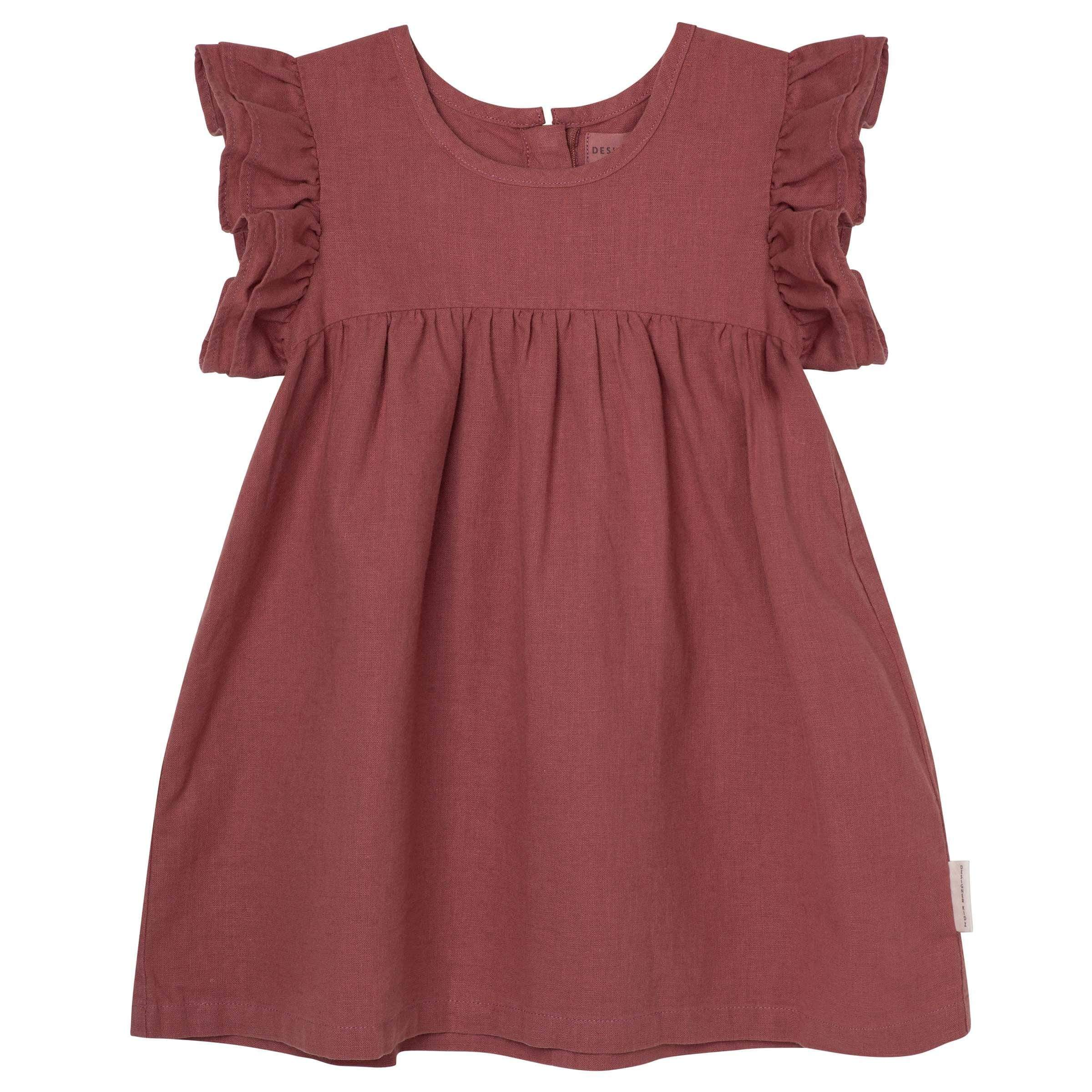 Raspberry Lane Boutique Frill Sleeve Dress - Redwood