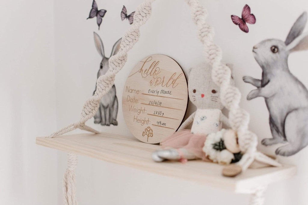 Raspberry Lane Boutique 'Hello World' Wooden Announcement Disc - Australiana