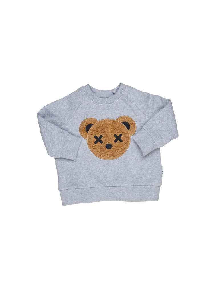 Raspberry Lane Boutique Huxbear Applique Sweatshirt - Grey Marle