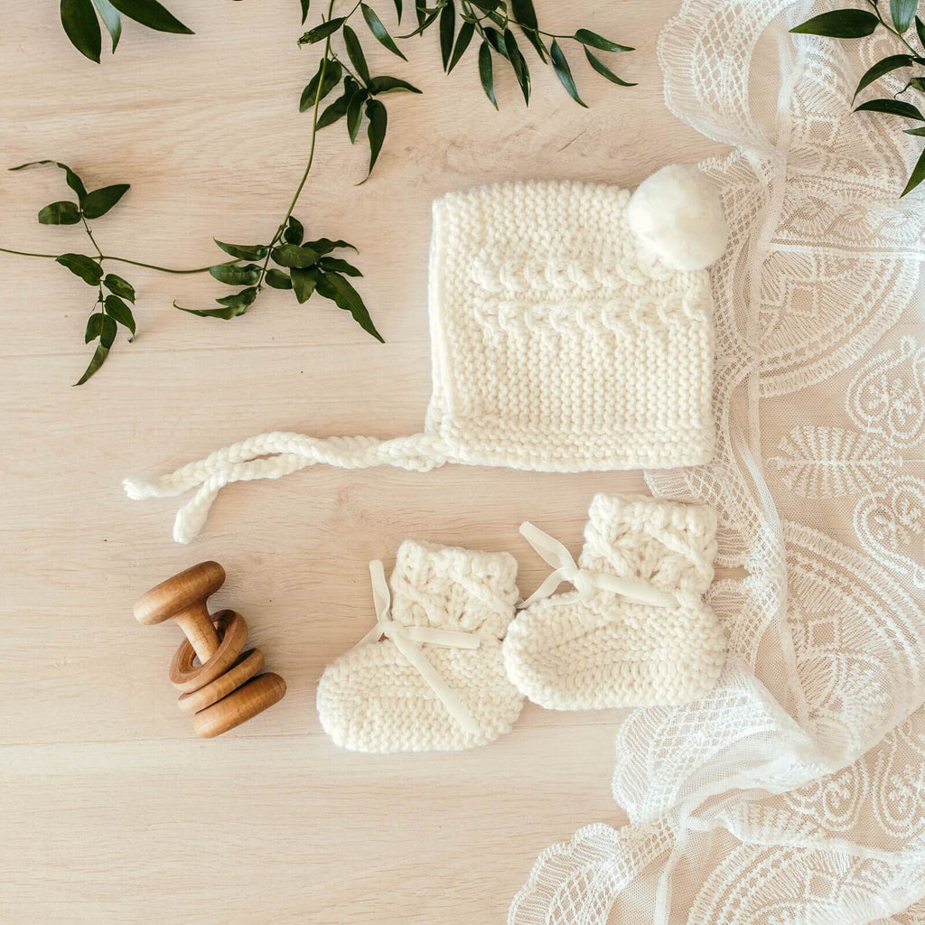 Raspberry Lane Boutique Ivory Merino Wool Bonnet and Booties