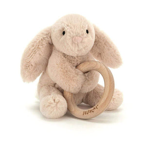 Raspberry Lane Boutique Jellycat Shooshu Bunny - Wooden Teether Ring Toy
