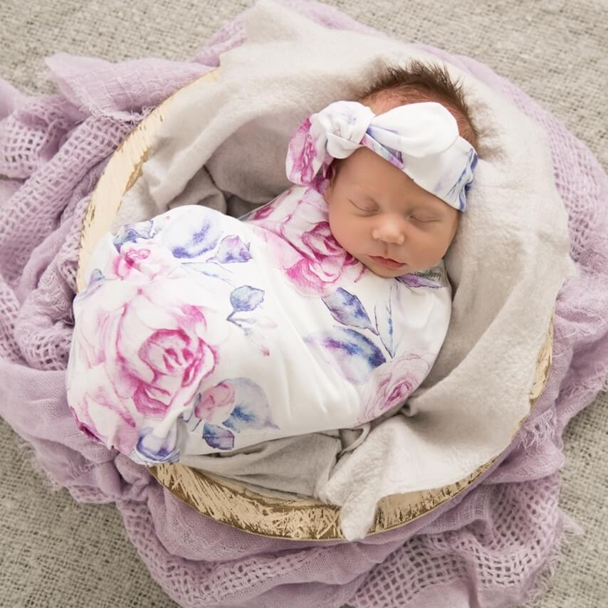 Raspberry Lane Boutique Lilac Skies Baby Jersey Wrap and Top Knot Set