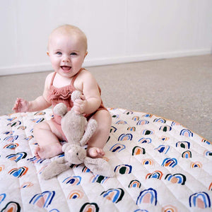 Raspberry Lane Boutique Ochre Rainbows Baby Play Mat