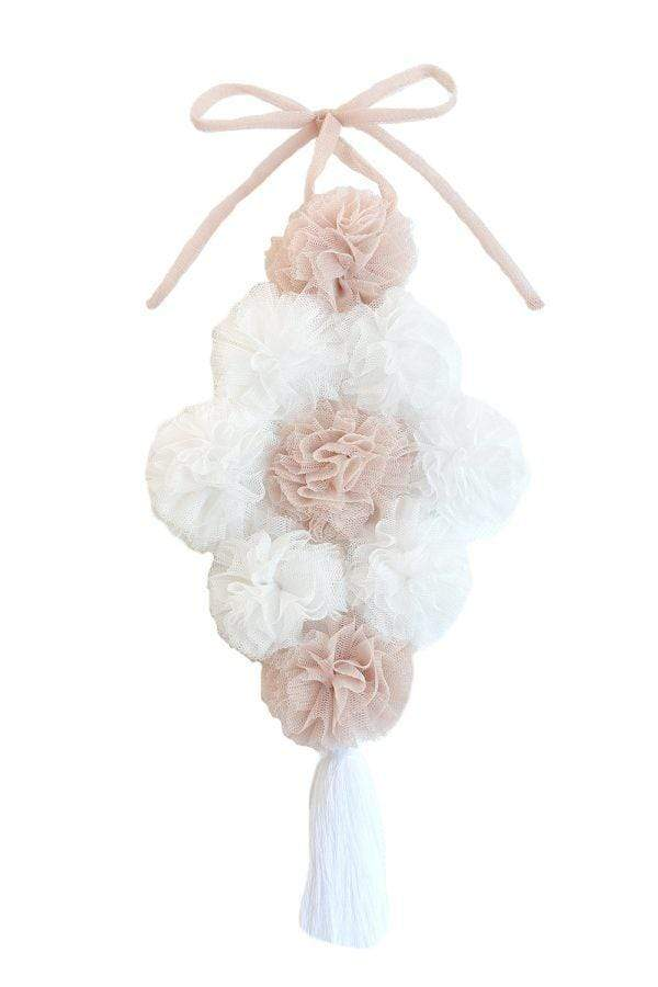 Raspberry Lane Boutique Pom Bouquet Canopy Garland - Champagne and White