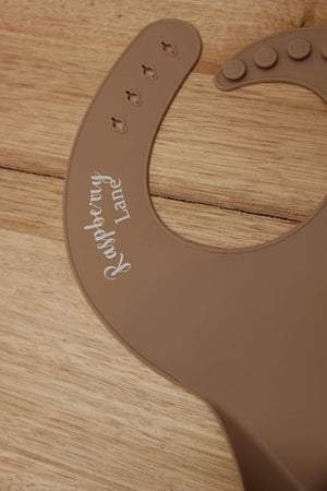 Raspberry Lane Boutique Silicone Scoop Bib - Cinnamon