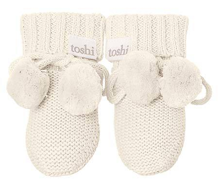 Raspberry Lane Boutique Toshi Organic Booties - Oatmeal