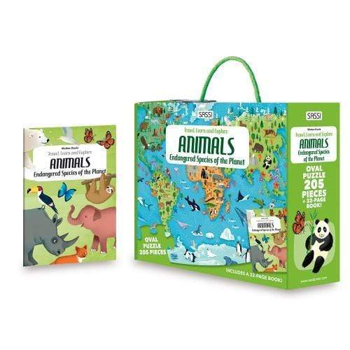 Raspberry Lane Boutique Travel Learn and Explore - Endangered Species 205 Piece Puzzle & Book