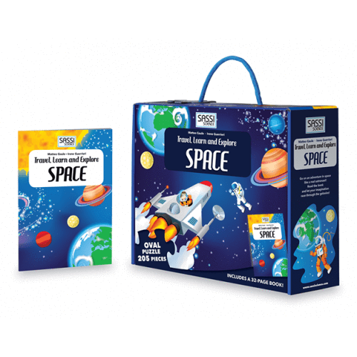 Raspberry Lane Boutique Travel Learn and Explore - Space 205 Piece Puzzle & Book