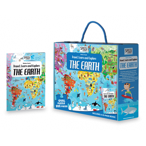 Raspberry Lane Boutique Travel Learn and Explore - The Earth 205 Piece Puzzle & Book