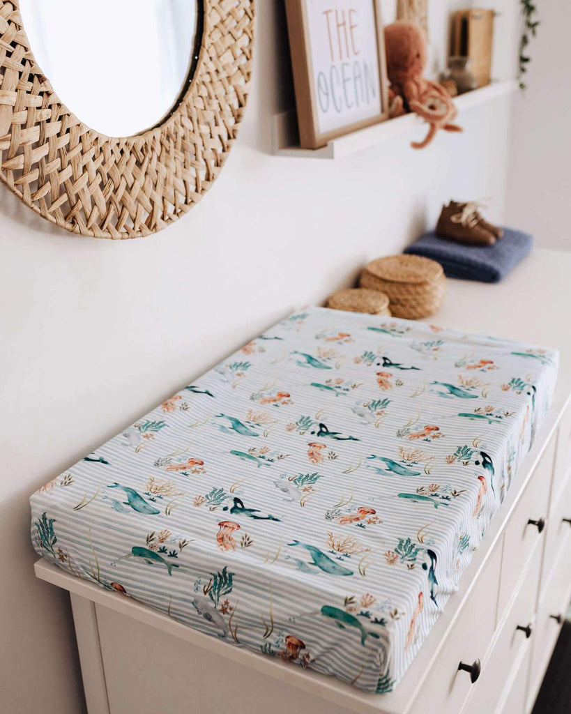 Raspberry Lane Boutique Whale Baby Bassinet Sheet