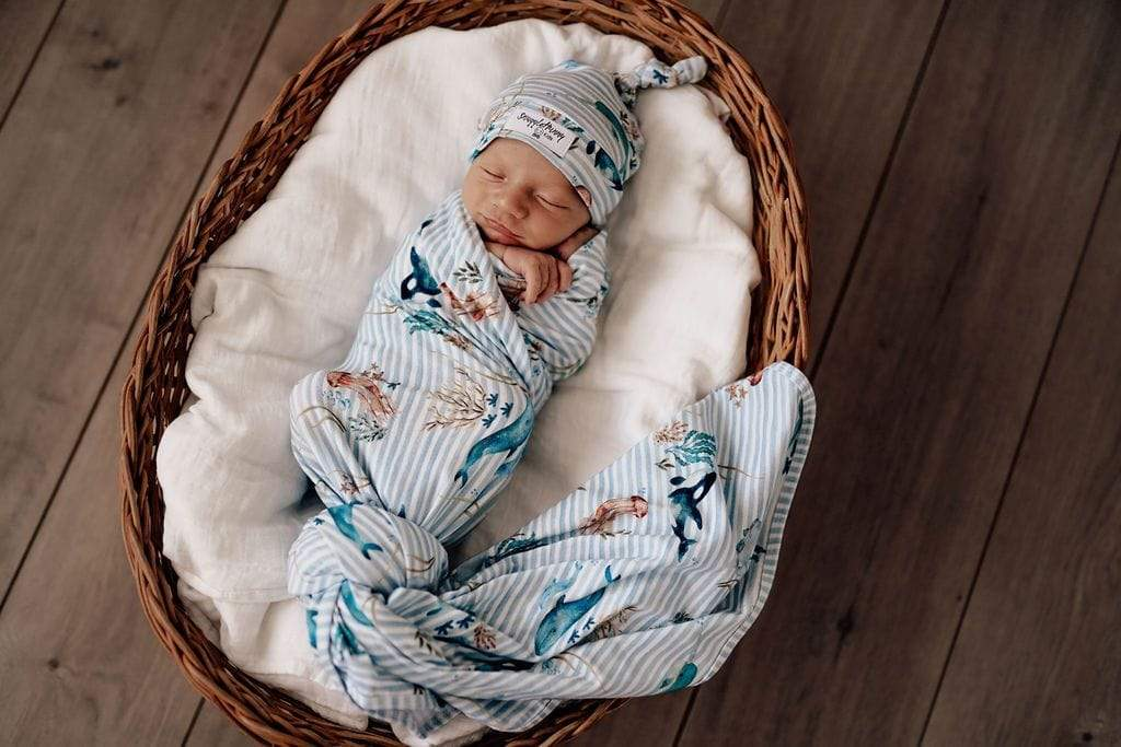 Raspberry Lane Boutique Whale Baby Jersey Wrap and Beanie Set